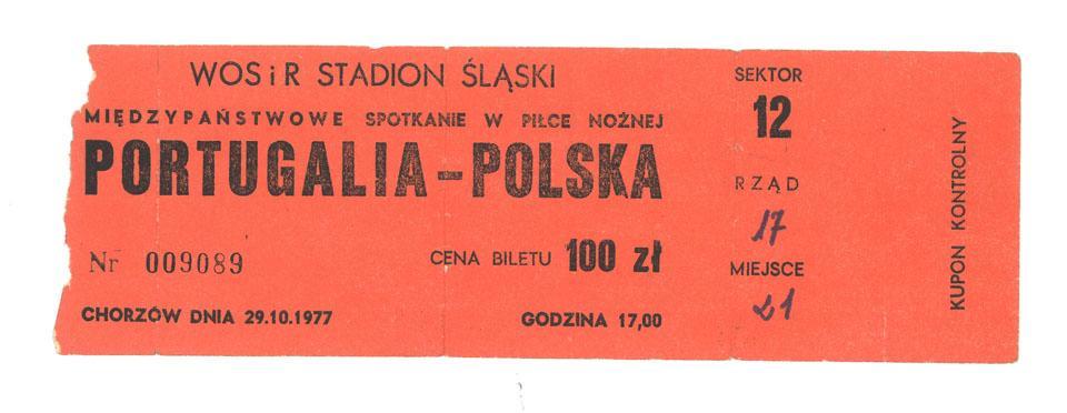 Oryginalny bilet z meczu Polska - Portugalia (29.10.1977)