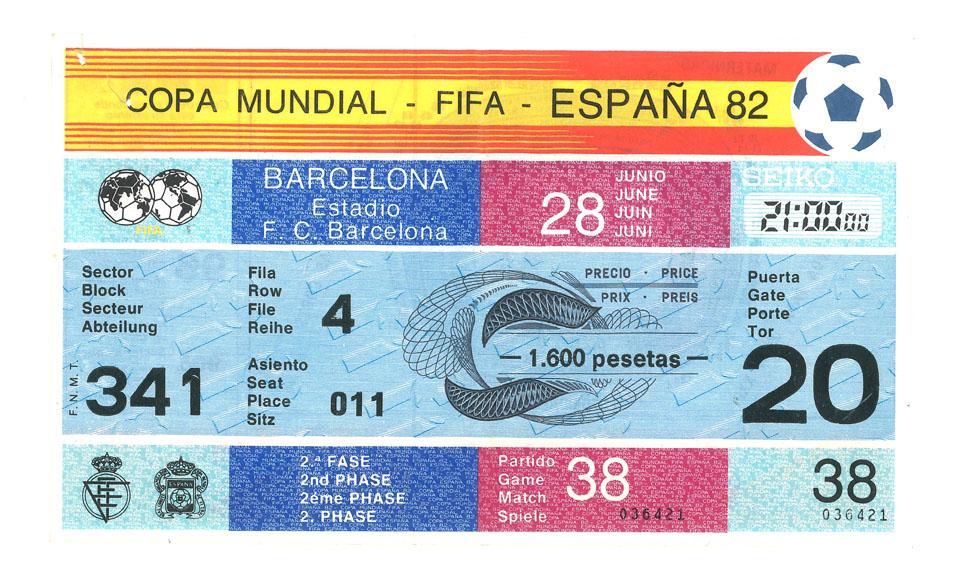 Oryginalny bilet z meczu Polska - Belgia (28.06.1982)