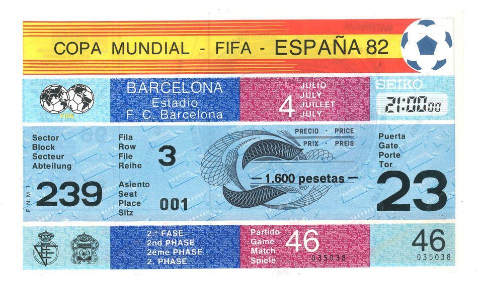 Oryginalny bilet z meczu Polska - ZSRR (04.07.1982)