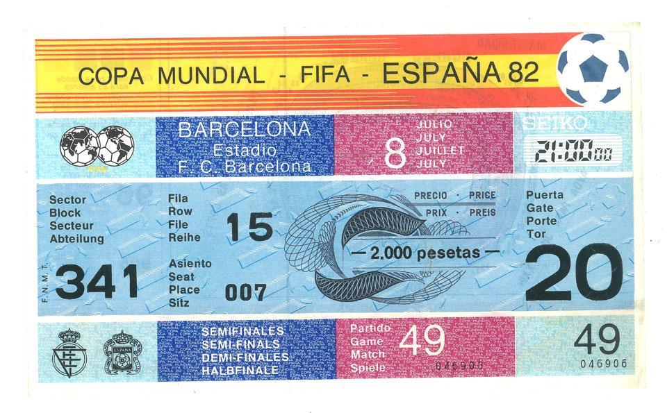 Oryginalny bilet z meczu Polska - Włochy (08.07.1982)