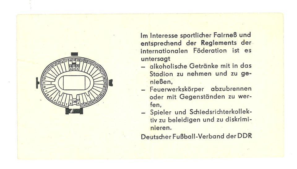 Oryginalny bilet z meczu NRD - Polska (10.10.1981)