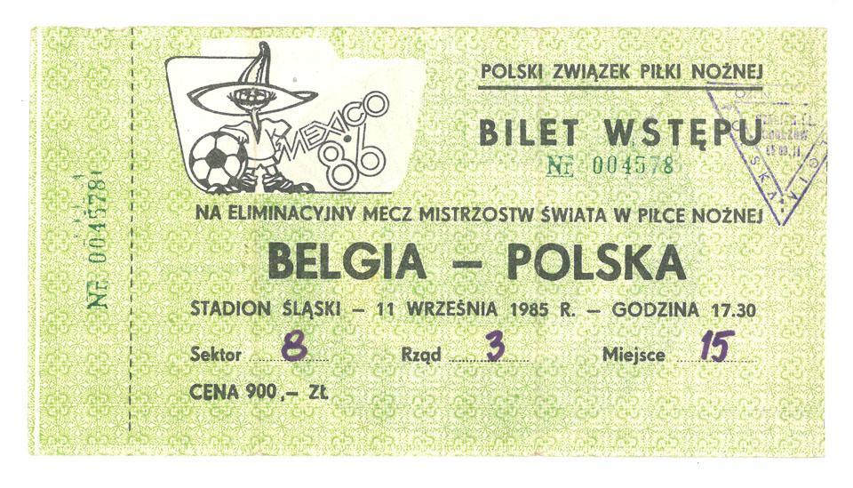Oryginalny bilet z meczu Polska - Belgia (11.09.1985)