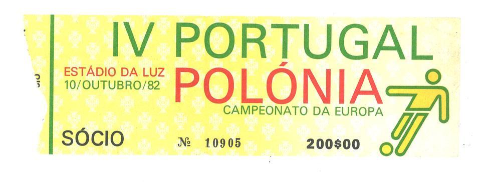 Oryginalny bilet z meczu Portugalia - Polska (10.10.1982)