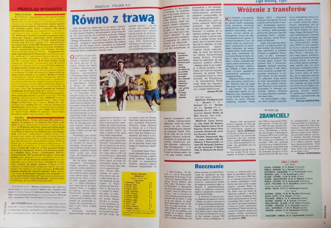 Piłka nożna po meczu Brazylia - Polska (26.02.1997)