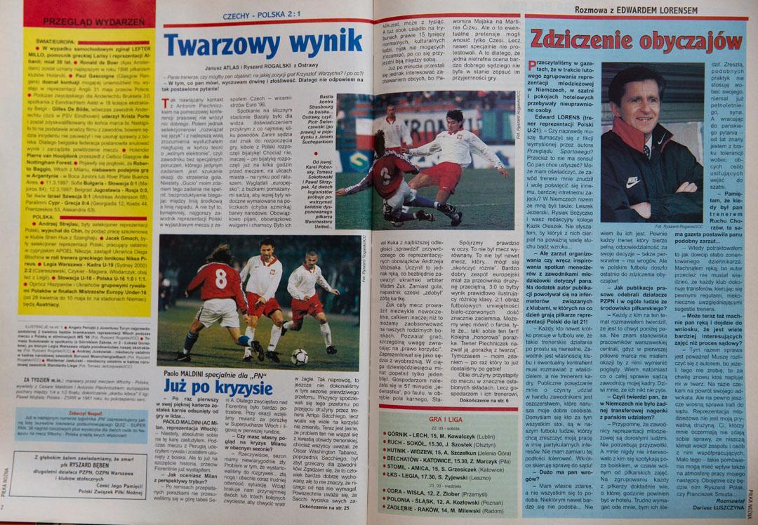 Piłka nożna po meczu Czechy - Polska (12.03.1997)