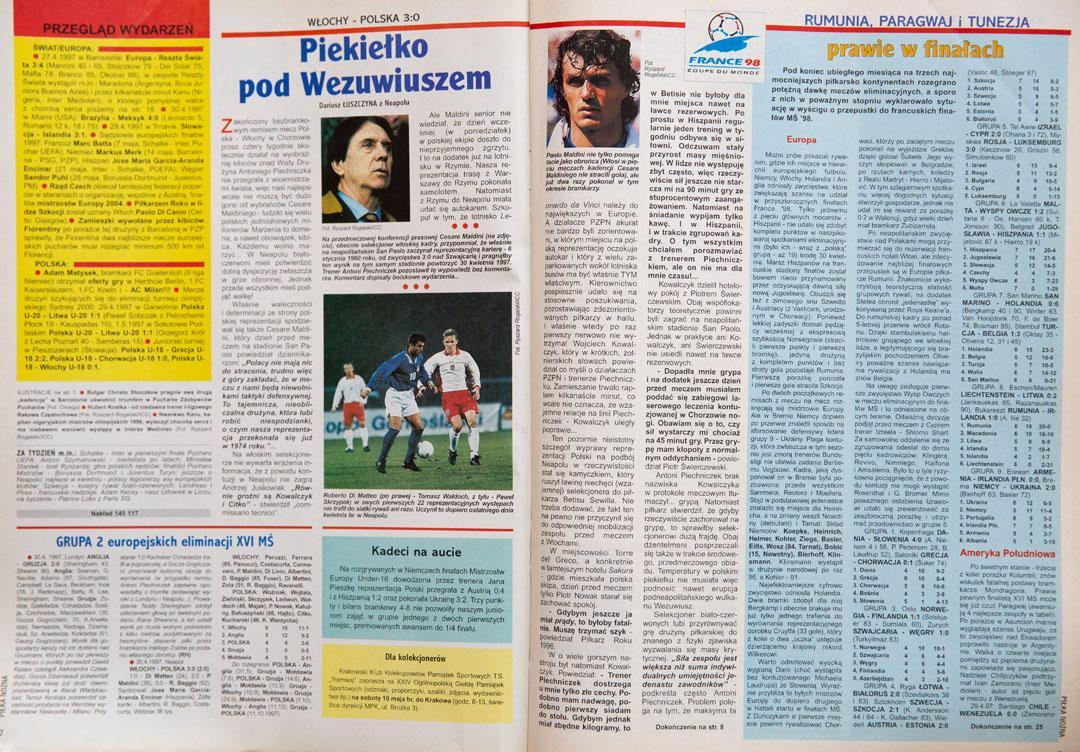 Piłka nożna po meczu Włochy - Polska (30.04.1997)