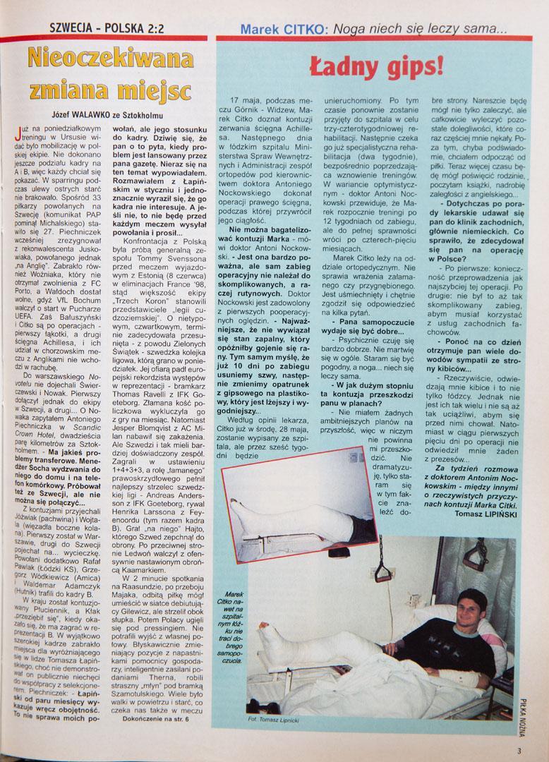 Piłka nożna po meczu Szwecja - Polska (22.05.1997)