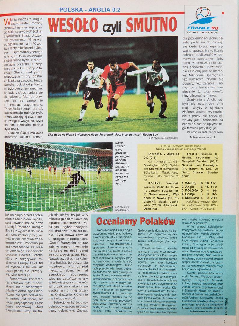 Tygodnik piłka nożna po meczu polska - anglia (31.05.1997)