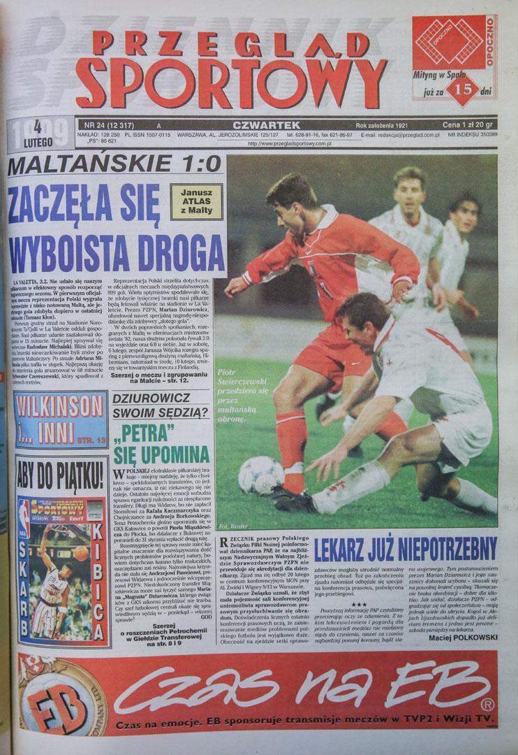 Okładka przeglądu sportowego po meczu malta - polska (03.02.1999)