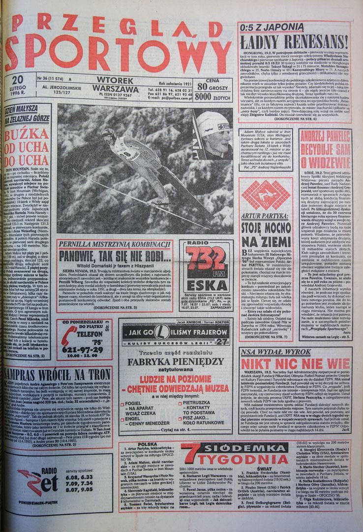 Okładka przeglądu sportowego po meczu polska - japonia (19.02.1996)