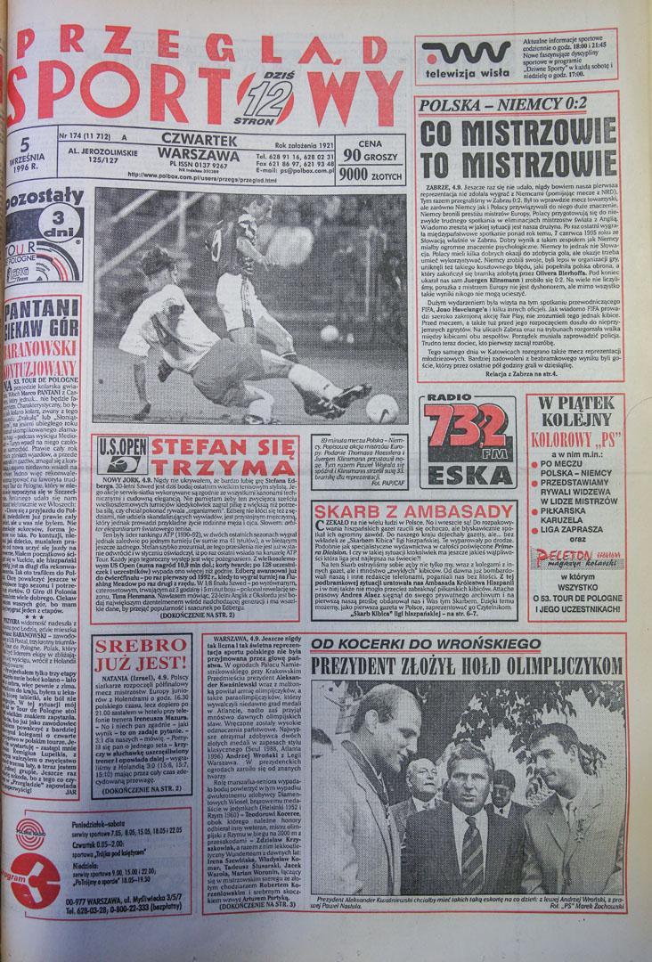 Okładka przeglądu sportowego po meczu polska - niemcy (04.09.1996)