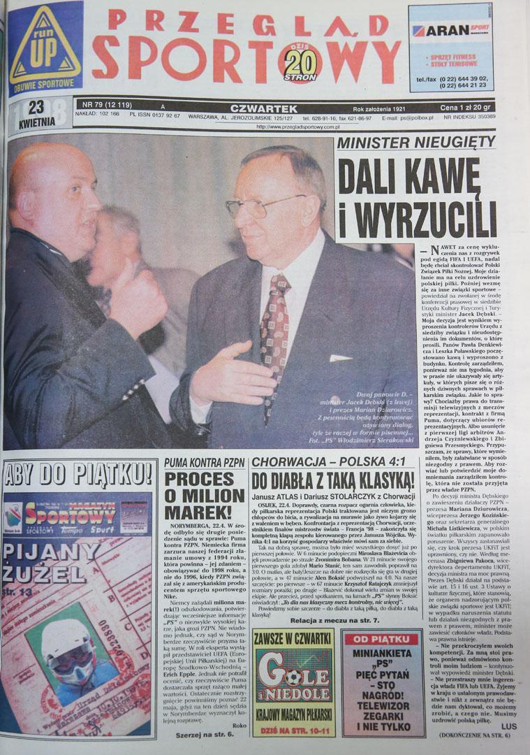 Okładka przeglądu sportowego po meczu chorwacja - polska (22.04.1998)