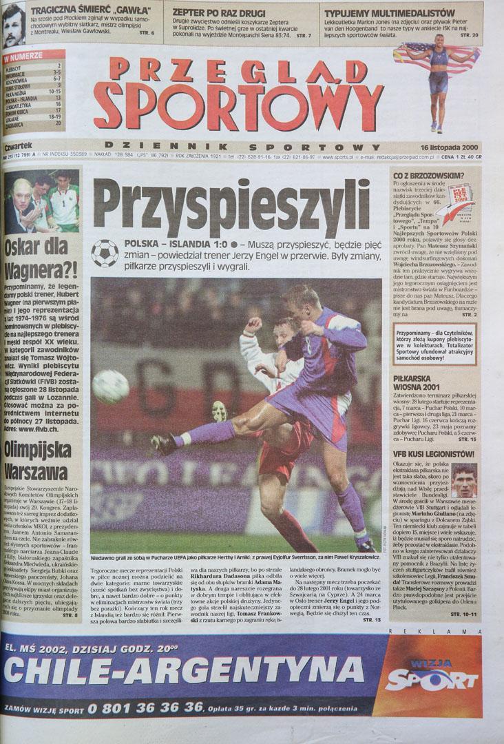 Okładka przeglądu sportowego po meczu polska - islandia (15.11.2000)