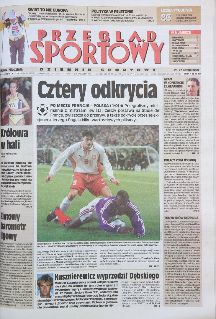 Okładka przeglądu sportowego po meczu francja - Polska (23.02.2000)