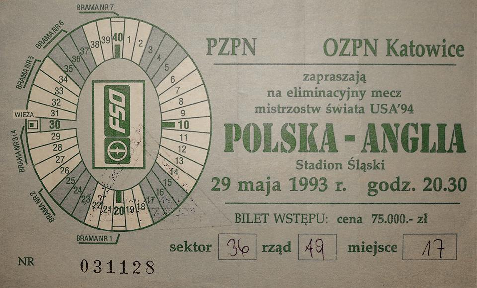 Oryginalny bilet z meczu Polska - Anglia (29.05.1993)