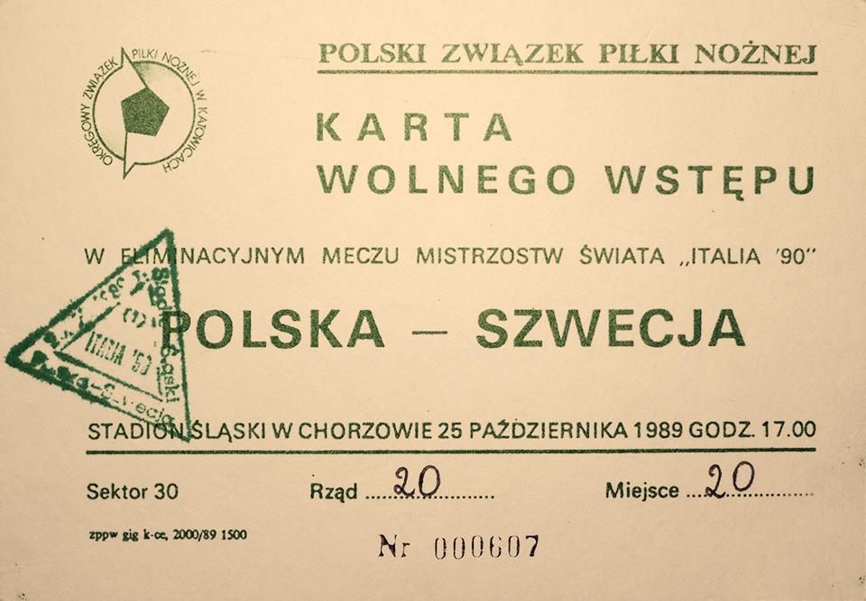 Oryginalny bilet z meczu Polska - Szwecja (25.10.1989)