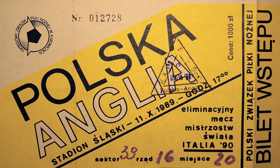 Oryginalny bilet z meczu Polska - Anglia (11.10.1989)