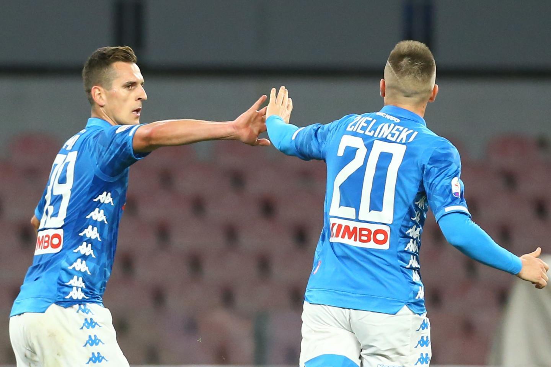 Arkadiusz Milik i Piotr Zieliński w barwach Napoli.