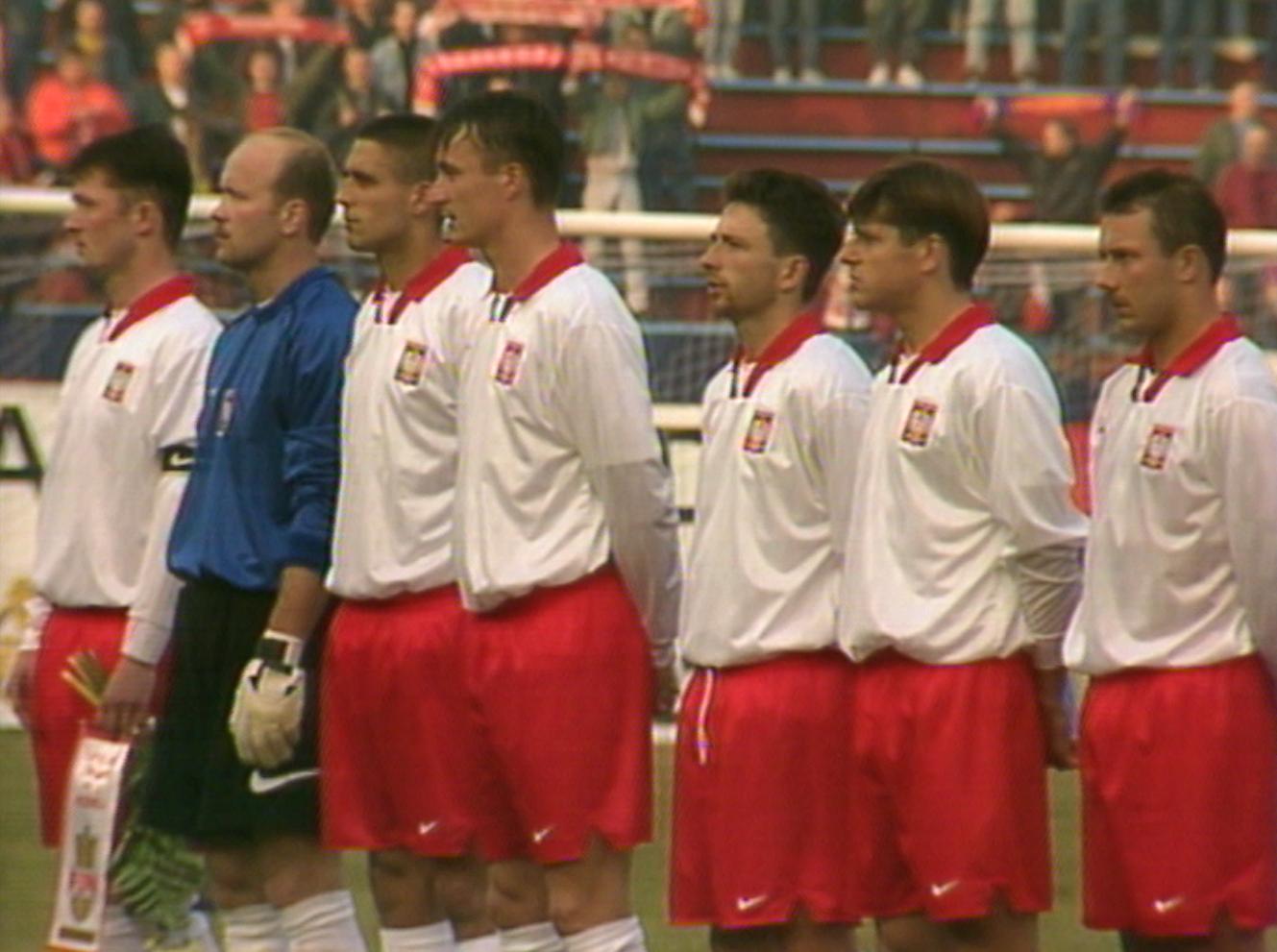 Reprezentacja Polski przed meczem z Czechami w Ostrawie.