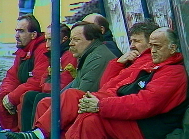 Andrzej Strejlau podczas meczu Polska - Litwa 1:1 (31.03.1993).