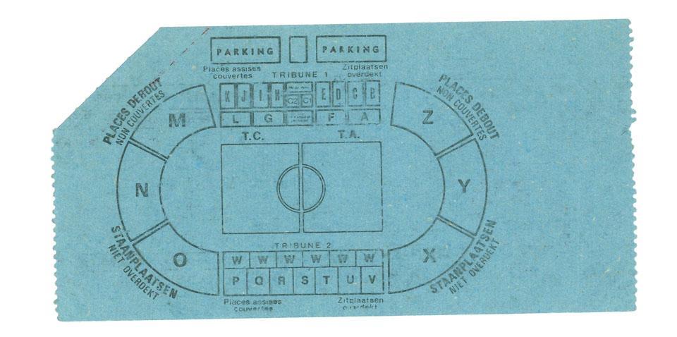 Bilet z meczu Belgia - Polska (02.04.1980)