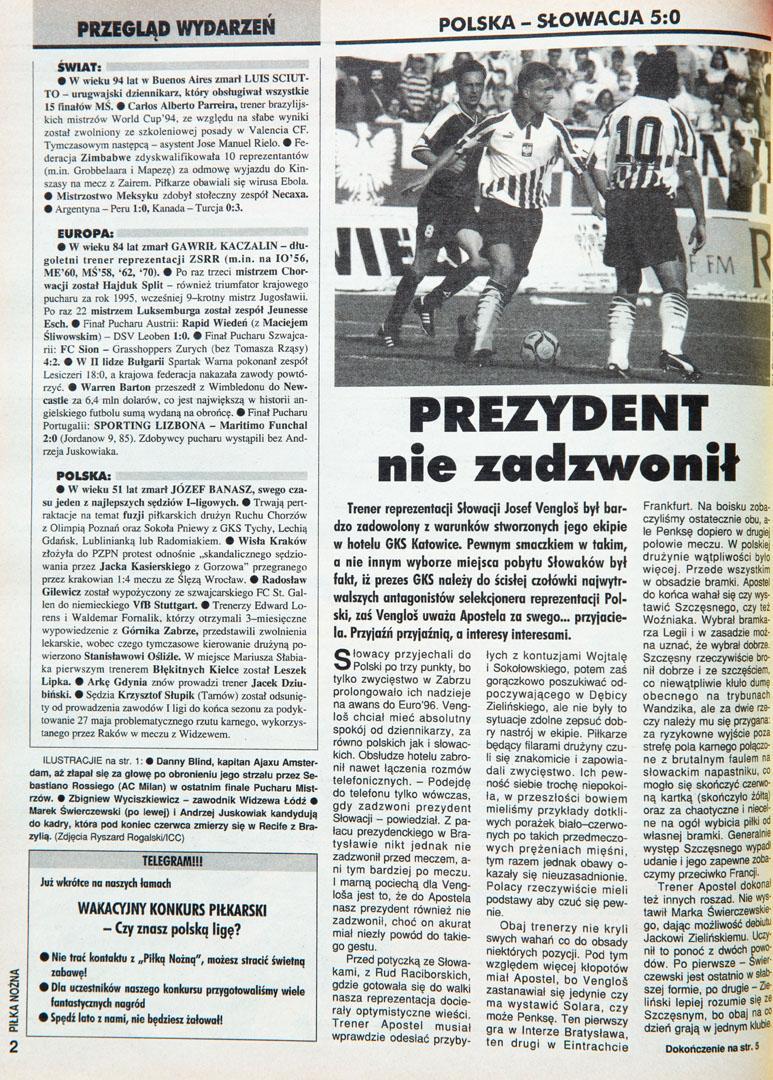 Piłka nożna po meczu polska - słowacja (07.06.1995)