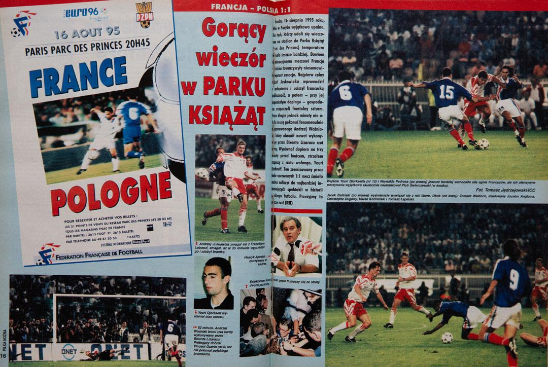 piłka nożna po meczu francja - polska (16.08.1995)