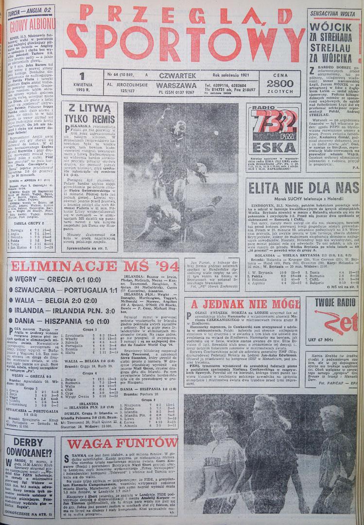 Okładka przeglądu sportowego po meczu polska - litwa 1:1 (31.03.1993)