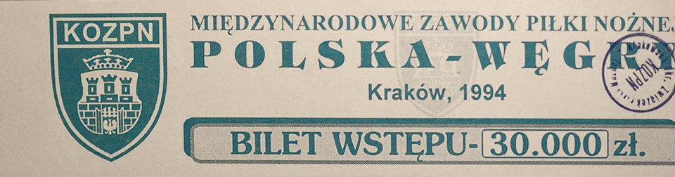 Bilet na mecz Polska - Węgry (04.05.1994)