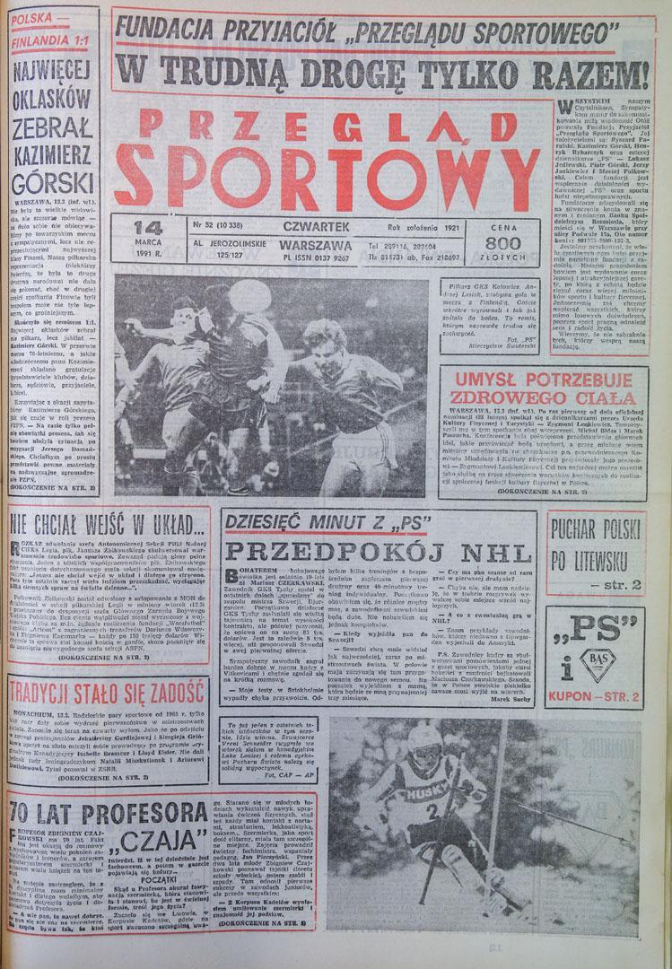 Okładka przeglądu sportowego po meczu polska - finlandia (13.03.1991)