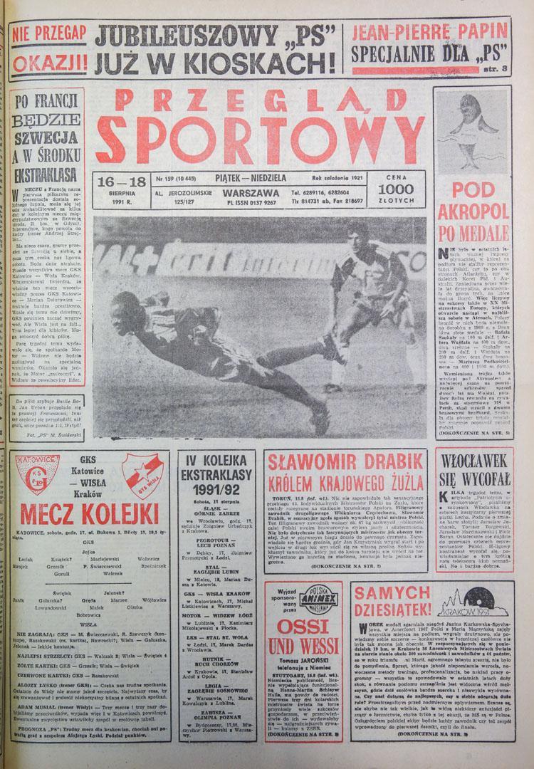 Okładka przeglądu sportowego po meczu polska - francja 1:5 (14.08.1991)