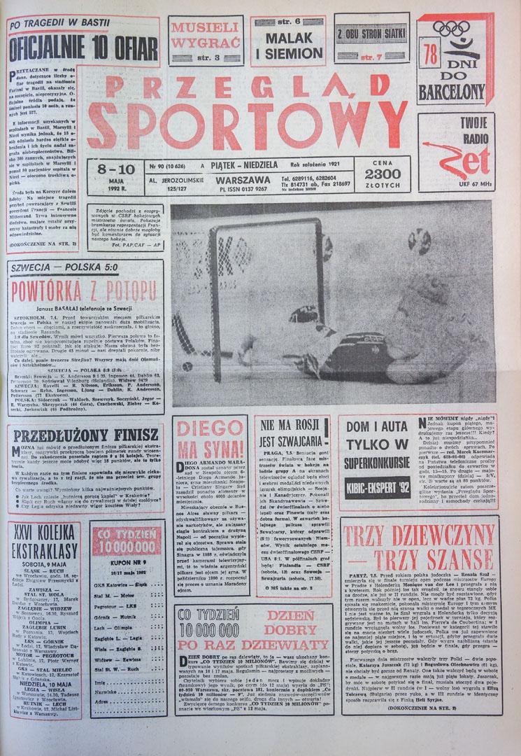 Okładka przeglądu sportowego po meczu Szwecja - Polska (07.05.1992)