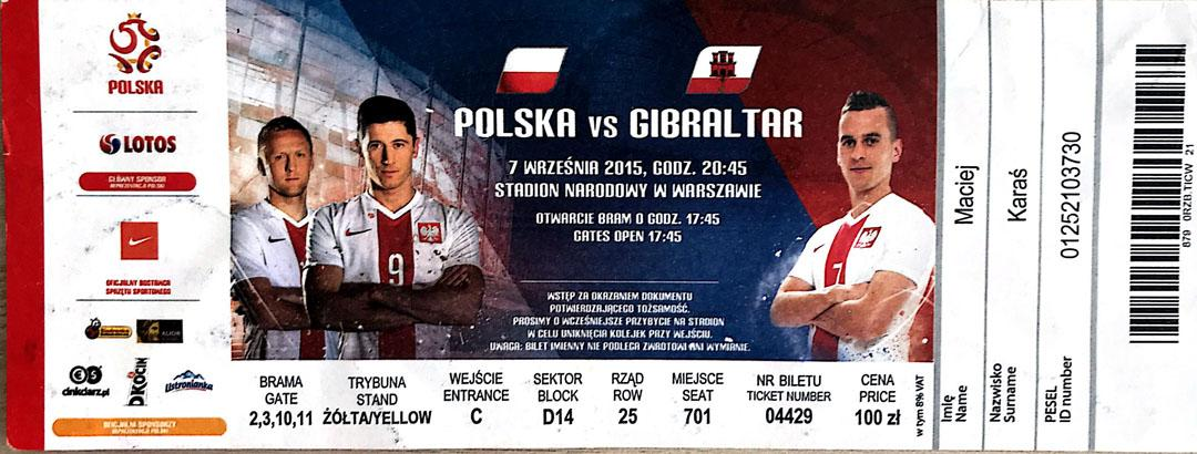 Bilet z meczu Polska - Gibraltar (07.09.2015)