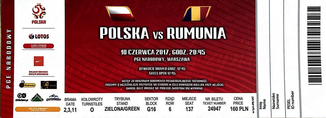 Bilet z meczu Polska - Rumunia (10.06.2017)