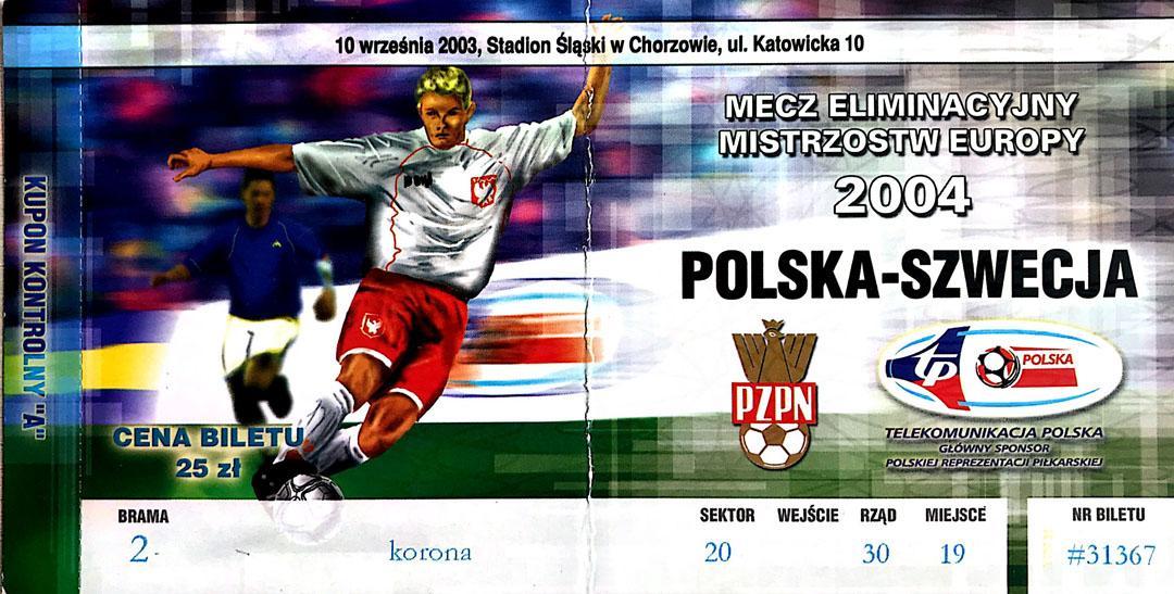Bilet z meczu Polska - Szwecja (10.09.2003)