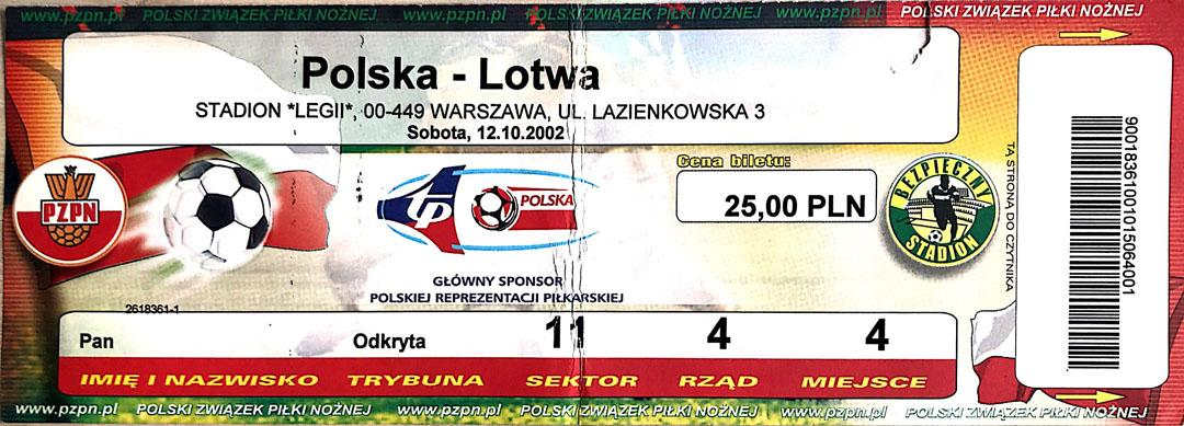 Bilet z meczu Polska - Łotwa (12.10.2002)