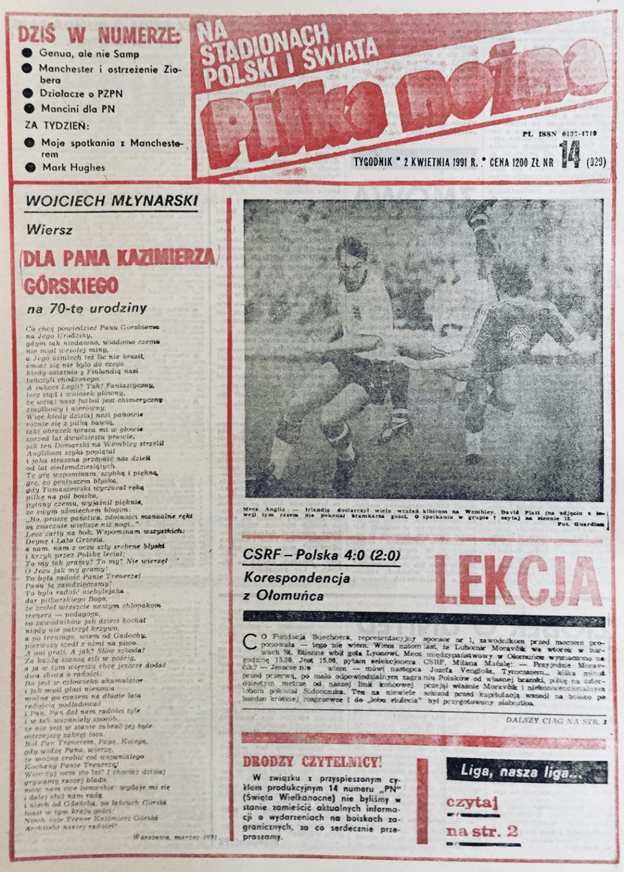 Okładka Piłki Nożnej po meczu Czechosłowacja - Polska 4:0 (27.03.1991)