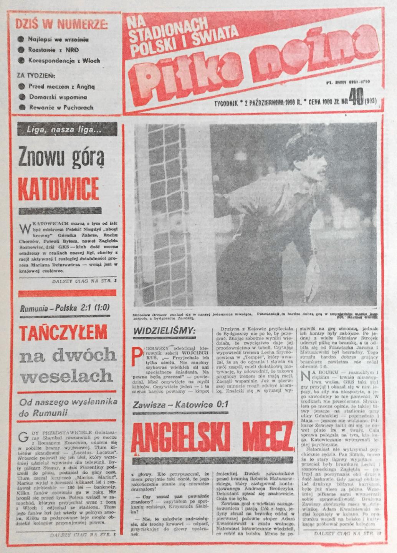 Piłka nożna po meczu Rumunia - Polska (26.09.1990)