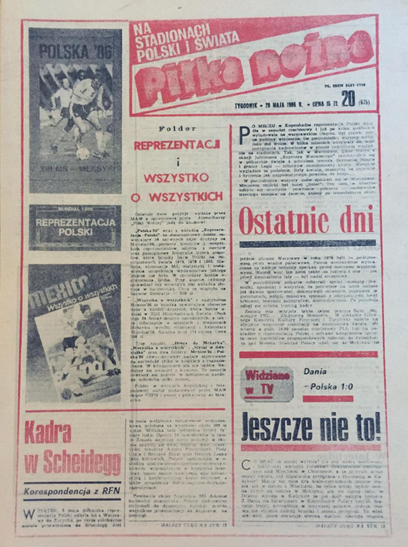 Okładka piłki nożnej po meczu Dania - Polska 1:0 (16.05.1986)