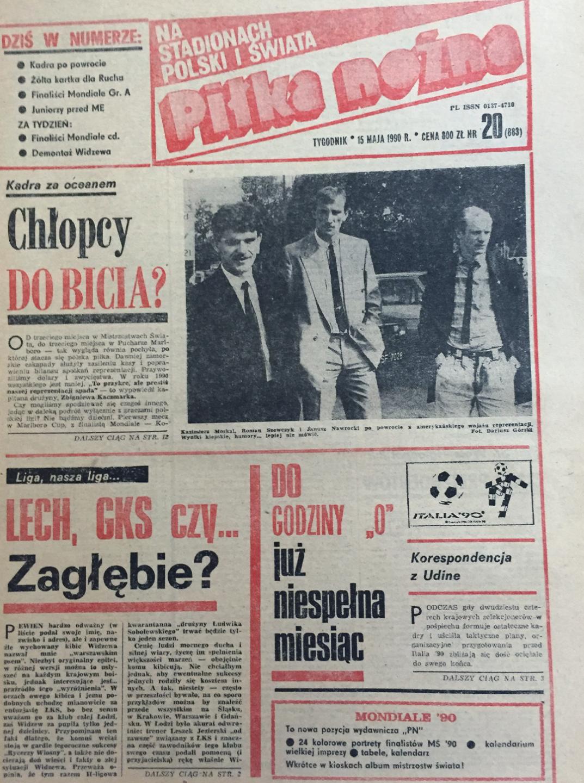 Okładka piłki nożnej po meczu USA - Polska 3:1 (09.05.1990)