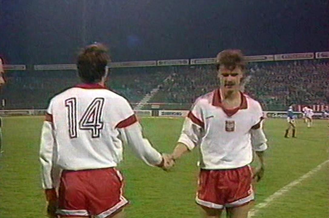Robert Warzycha i Krzysztof Warzycha podczas meczu Polska - Jugosławia 0:0 (28.03.1990).