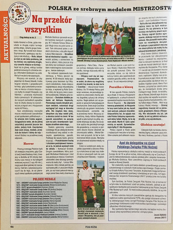 Okładka Piłki Nożnej po meczu Polska - Hiszpania 1:4 U16 (07.05.1999)