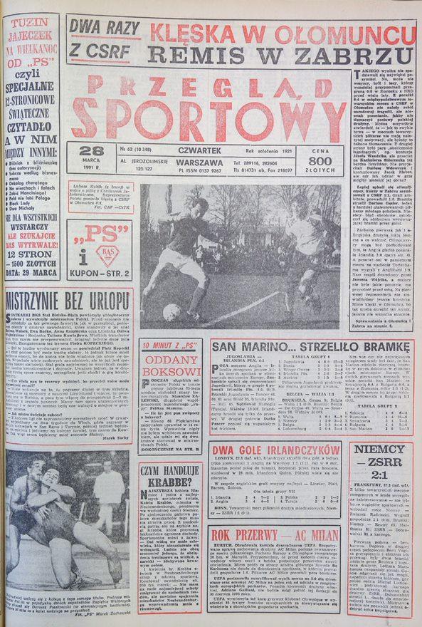 Okładka przeglądu sportowego po meczu CSRS - Polska 4:0 (27.03.1991)