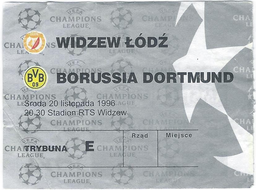 Widzew Łódź - Borussia Dortmund 2:2 (20.11.1996) Bilet