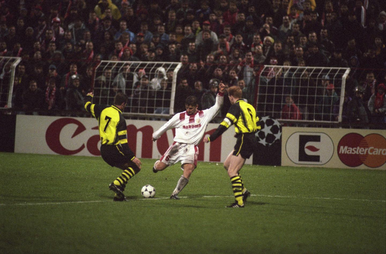Marek Citko podczas meczu Widzew Łódź - Borussia Dortmund 2:2 (20.11.1996).