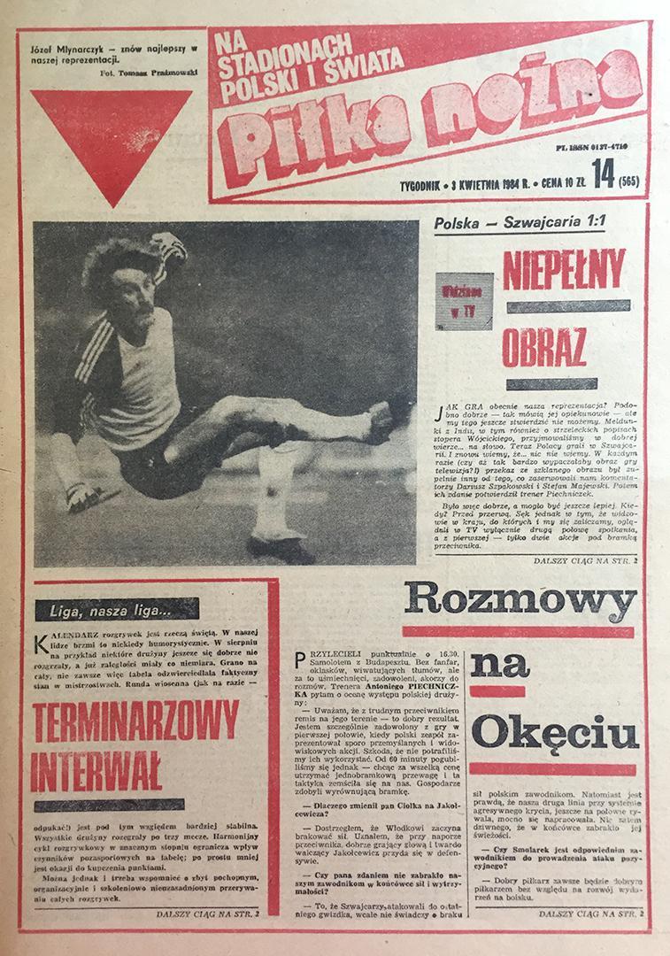 Okładka piłki nożnej po meczu Szwajcaria - Polska (27.03.1984)