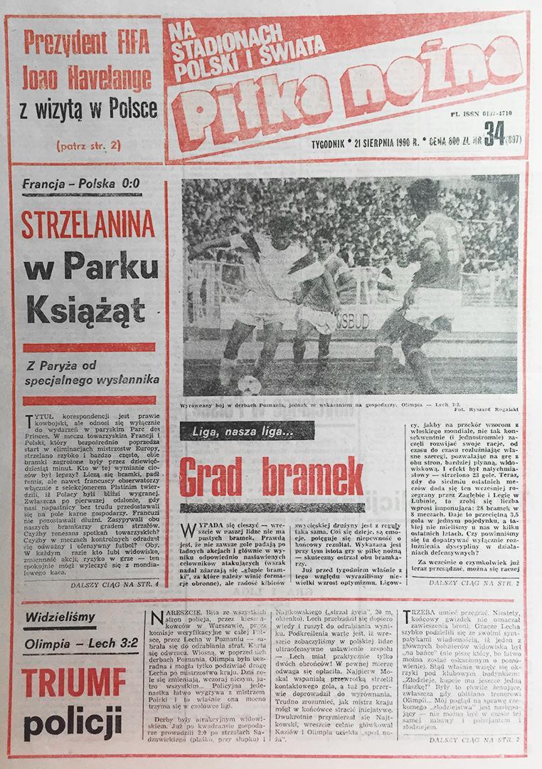 Okładka piłki nożnej po meczu francja - polska (15.08.1990)