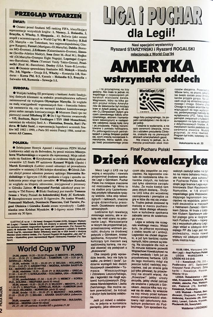 Piłka nożna po finale Pucharu Polski Legia - ŁKS 2:0 (18.06.1994)