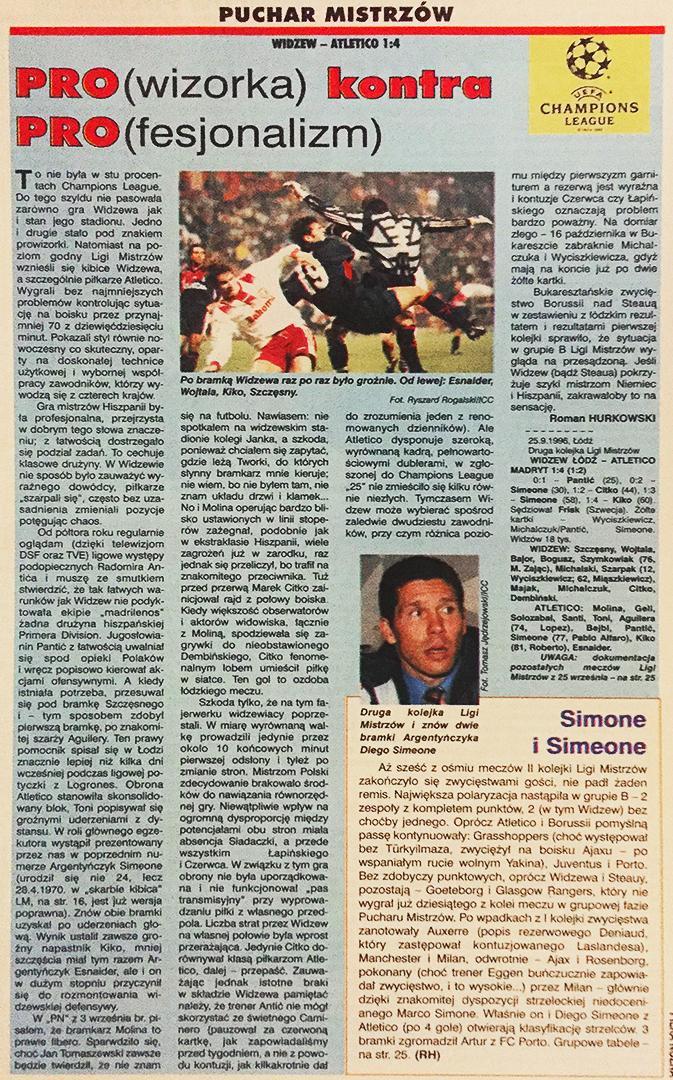 Piłka nożna po meczu Widzew - Atletico (25.09.1996)