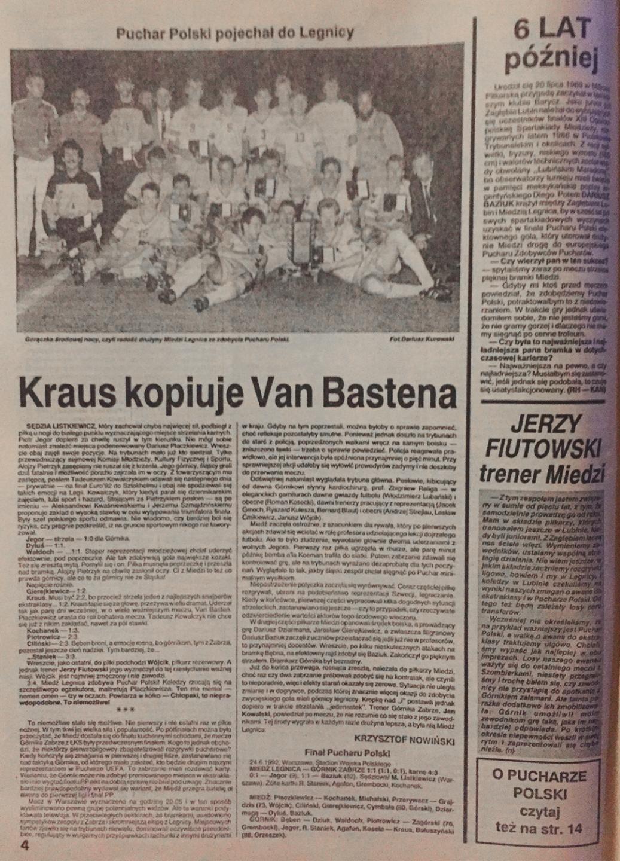 piłka nożna po meczu miedź - górnik (24.06.1992)